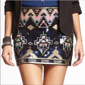 Windsor Sequin Tribal print Mini Skirt size L